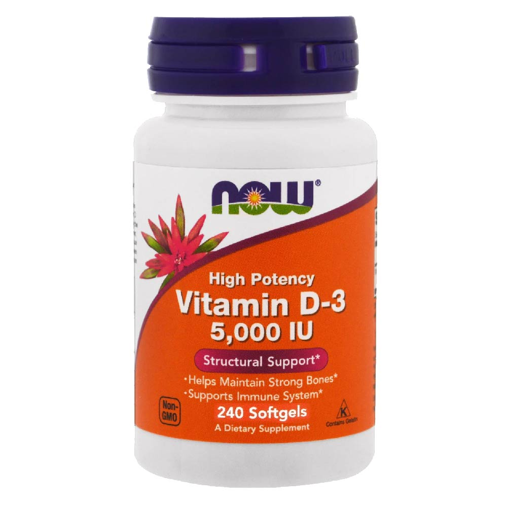 Vitamina D3 5000IU Alta potencia Now 240 Softgels