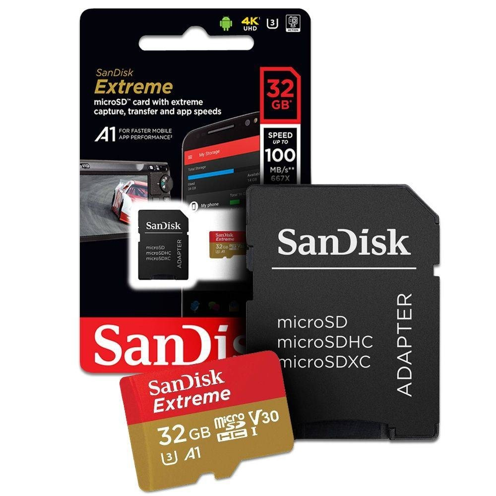 Micro Sd Extreme 32gb 100mbs Sandisk 4k Go Pro Drone Lacrado Sandisk Micro SD