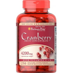 Cranberry Puritan's Com Vitamina C & E 4200mg 250 Softgels