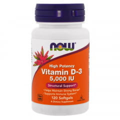 Vitamina D3 5000IU Alta potencia Now 120 Softgels